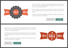 Sale 10 and 90 Web Page on Vector Illustration. Sale 10 and 90 , web page collection, with labels and stickers, text sample and buttons on vector illustration Vector Illustration