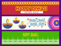 Sale website banner set for Happy Diwali. Happy Diwali Super Sale with 50% Discount Offer, Creative website header or banner set, Colorful Sale Background with Stock Photos