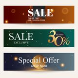 Sale website banners web template collection. Can be used for mo. Bile website banners, web design, posters, email and newsletter designs Royalty Free Stock Photo