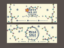 Sale website header or banner set. Colorful flowers decorated Mega Sale website header or banner set with 50% discount offer Stock Photos
