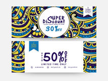 Sale website header or banner set. Creative traditional floral decorated, Sale website header or banner set with 50% discount offer for limited time only vector illustration