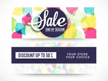 Sale website header or banner set decorated with floral design. Stock Image