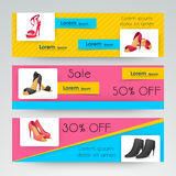 Sale website header or banner set for women footwear. Royalty Free Stock Image