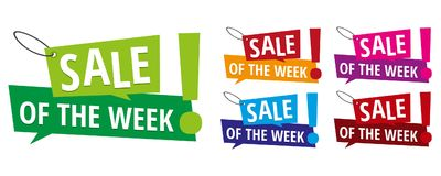 Sale of the week banner labels. Eps10 Vector for commercial promotion Stock Photos