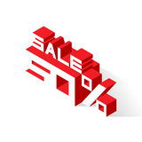 Sale 50% on white background. Vector illustration in 3D isometric style Stock Photo