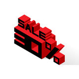 Sale 30% on white background. Vector illustration in 3D isometric style Stock Photos
