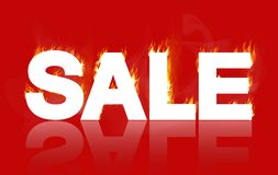 Sale - a white inscription on fire stock illustration