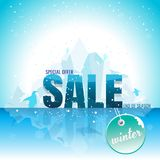 Sale winter banner with snowflakes. vector illustration. backgro Stock Photography