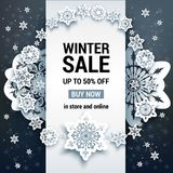 Sale winter Black card Stock Photo