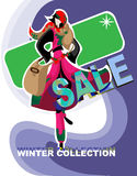 Sale of winter clothing collection. In folk style Stock Image