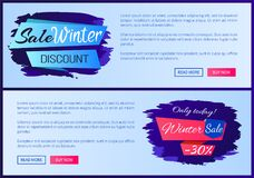 Sale Winter Discount Inscription on Ribbon Posters. Sale winter discount inscription on blue ribbon only today - 30 off vector illustration internet web pages Stock Photography