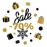 70 Sale Winter Discount Sign on White. Vector. 70 Sale Winter Discount sign on white background with black and gold present boxes, shopping bags, different Stock Photos