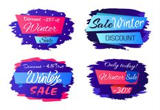 Sale Winter Discounts Special Offer Promo Labels. With price reduction on 25, 30, 45 percents set of vectors with brush strokes isolated on white Stock Photo