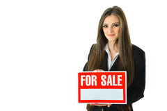 For Sale. Woman holding a For Sale sign Royalty Free Stock Photo