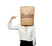 Sale woman over white Stock Images