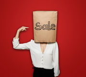 Sale woman pointing Stock Photos