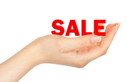 SALE on woman's hand Royalty Free Stock Photography