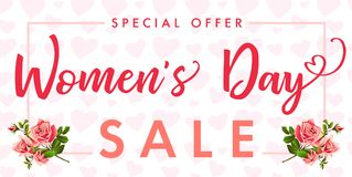 Happy Womens day rose flower and hearts Sale banner. Sale Women`s Day greeting card template with typography text happy womens day on pink hearts background Royalty Free Stock Photography