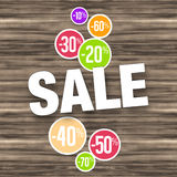 Sale Wood Background Royalty Free Stock Photos