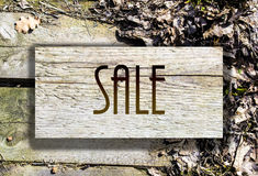 Sale 2. Wooden advertising sale And discounts Royalty Free Stock Photography