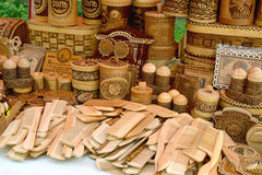 Sale of wooden and birch bark economic products Stock Images