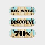 Sale Wooden discount 70% on white background. vector.  Stock Illustration