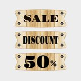 Sale Wooden discount 50% on white background. vector.  royalty free illustration