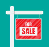 For sale wooden placard. Real estate sign. Buy or rent house. Vector illustration in flat style Stock Photography