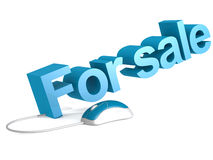 For sale word with blue mouse Stock Images