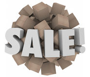 Sale Word Cardboard Boxes Inventory Overstock Wholesale Clearanc. Sale word in 3d letters on a sphere of cardboard boxes to illustrate clearance event of excess Royalty Free Stock Photo