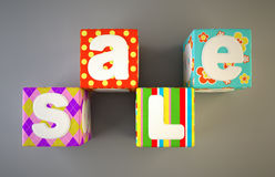 Sale word on colorful fabric cubes 2 Stock Image