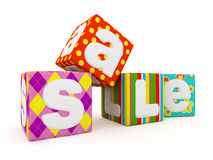 Sale word on colorful fabric cubes on white background 3 Stock Photos