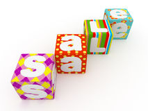 Sale word on colorful fabric cubes on white background 5 Royalty Free Stock Photo