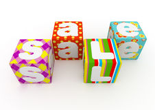 Sale word on colorful fabric cubes on white background 6. Sale word on colorful fabric cubes on white background Stock Photo
