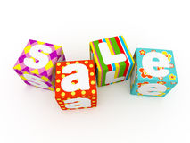 Sale word on colorful fabric cubes on white background 7. Sale word on colorful fabric cubes on white background Royalty Free Stock Photo