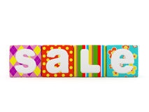 Sale word on colorful fabric cubes on white background 8 Stock Photos