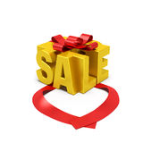 Sale word concept. Beginning of sale season, special offer or promotional action. Golden word in the form of gift box with open red ribbon as symbol of beginning Stock Photography