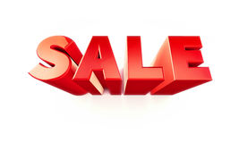 Sale word. 3D red word sale on wall, isolated stock illustration