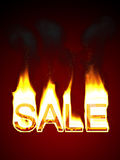 Sale word in fire Royalty Free Stock Photos