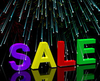 Sale Word And Fireworks Showing Promotion Discount And Reduction Stock Photography