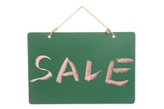 Sale word on greenboard Stock Images
