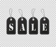 Sale word made of black tags on transparent background. Vector illustration. Royalty Free Stock Image