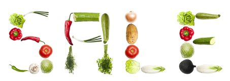 Sale word made of vegetables Stock Image