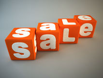 Sale word on orange fabric cubes 3D Stock Images