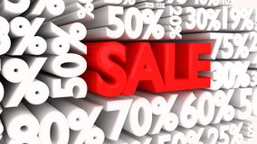 Sale word and percentage discount signs Royalty Free Stock Image