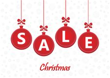 Sale word on red christmas balls on the white background, horizontal vector. Illustration Stock Photography