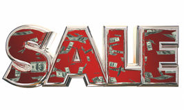 Sale Word Save Money Falling Dollars. 3d Illustration Royalty Free Stock Image