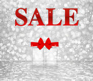 Sale word on white silver bokeh background Royalty Free Stock Photography