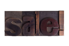 Sale!, word written in letterpress type blocks Royalty Free Stock Images
