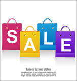 Sale Wording On Shoping Bags On White Background. Sale Wording On Shopping Bags On White Background, Business Concept Royalty Free Stock Photos